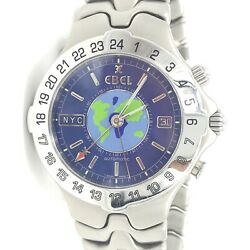 Ebel Sport Wave Meridian World Time Gmt Stainless Automatic Menand039s Watch 9122641