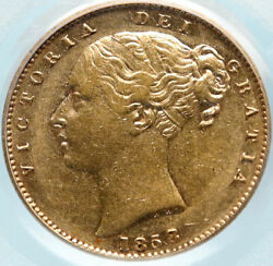 1858 Great Britain Antique Old Uk Queen Victoria Gold Sovereign Coin Pcgs I83842
