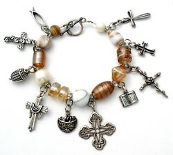 Religious Charm Bracelet With Sterling Silver Crosses Bible Fish Glass Beads 7