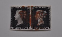 1d Black Plate 4 Qi-qj Superb Used Horizontal Pair With Margins All Round .
