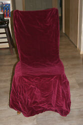 Quality Red Burgundy Velvet Dining Side Chair Cover With Ties Set Of 6