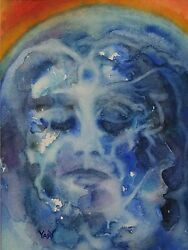 Yary Dluhos Watercolor Expressionist Face Blue Globe World Abstract Original Art