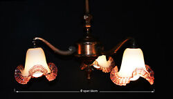 Vintage Edwardian C-1905 Arts And Crafts 3-arm Copper Chandelier Hand-made Shades