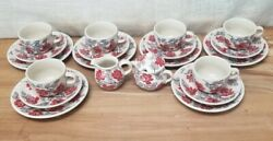 New 20 Pc Evening Blossom Polish Pottery Latte/soup Cup Saucer Plate Cream/sugar