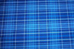 NEW Blue Plaid Poly Cotton cloth fabric material is 61quot; wide made in the USA $1.99