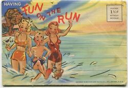 1942 Curt Teich Fold-out Comic Postcards Fun On The Run Some Risque Some Racist