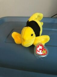 Ty Beanie Babies 1995 Bubbles The Fish Wit Pvc Pellets And Tag Errors