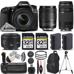 Canon Eos 90d Dslr Camera With 18-135mm Usm Lens + 75-300 Iii + 50mm 1.8 Andmore