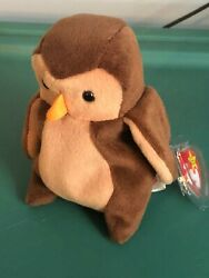 Very Rare 1995 Ty Beanie Babies Named Hoot, With Pvc Pellets And Tag Errors