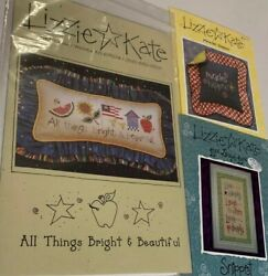 3 Inspirational Lizzie Kate Cross Stitch Charts Live Laugh Love Miracles Happen $14.99