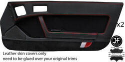 Red Stitch 2x Full Door Card Leather And Pu Suede Cover For Mazda Rx7 Fc 86-91