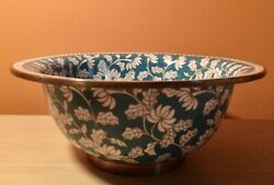Antique Chinese Cloisonne Bowl W/ Enamel + Brass Floral Details Turquoise White
