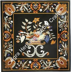 38x38 Inch Black Marble Pietra Dura Square Dining Table Top Gifts Decor H5671e