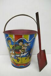 Vintage Us Metal Toy Mfg Co Lg Toy Sand Pail Bucket W/carousel Design And Shovel