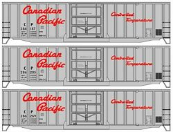 Ho Scale 50' Steel Boxcar Kits 3-pack - Canadian Pacific - Accurail 56404