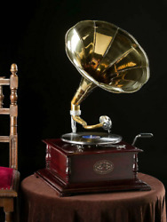 Gramophone With Brass Horn Record Player – 78 Rpm Vinyl Phonograph