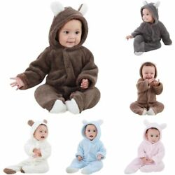 Toddler Newborn Baby Boy Girl Hooded Romper Jumpsuit Bodysuit Outfits Clothes US $11.99