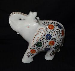 Marble Trunk Elephant Pietra Dura Inlay Home Decor Gifts Marquetry Mosaic Arts