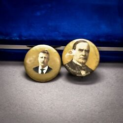 Lot Of 2 1900 W.m. Mckinley 1904 Theodore Roosevelt Campaign Pinback Free Ship