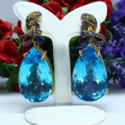 Natural Vvs 22x37mm Baby Blue Topaz Sapphire And Tanzanite Earrings 925 Silver