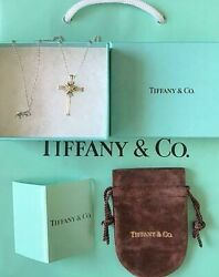 And Co. 18k Gold And Sterling Silver 925 Cross Necklace Pendant W/box Dhl