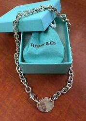 Auth And Co.please Return To Oval Tag Chain Necklace Pendant Choker Dhl