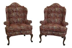 49204ec Pair Southwood Queen Anne Upholstered High Back Wing Chairs