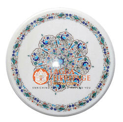 24 Round Marble Coffee Table Top Peacock Parrot Multi Inlay Floral Decor H037