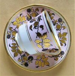 Vintage Coalport England Bone China Cup And Saucer Black Raspberry Gold And Pink Vgc