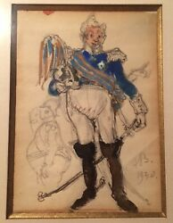 Alexander BENOIS Ballets Russes Original Costume Design The Graduation Ball sign