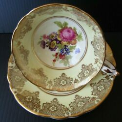 Paragon Teacup Cup And Saucer Yellow Gold Gilt Floral Wildflowers