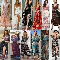 Women#x27;s Maxi Boho Floral Summer Beach Long Slit Evening Cocktail Party Sundress $13.99