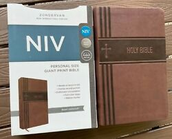 Niv Holy Bible Large Print Brown Leather-soft Cover Brand New In Shrink Wrap