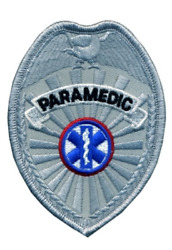 Paramedic- Emergency Medical Service Badge Patch in Gold or Silver Color