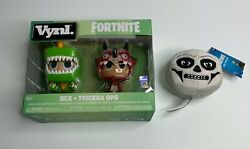 Vynl Fortnite Funko Rex And Tricera Ops Collectible Figures W/ Skull Trooper Plush