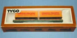 Vintage Tyco Ho Scale Electric Trains Up Union Pacific 53 Foot Piggy Back Flat