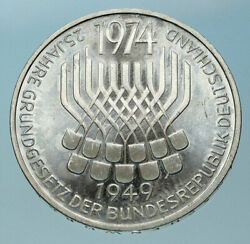 1974 F Germany 25 Years Of German Federal Constitution Law Silver 5 Mark I83882
