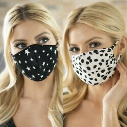 NEW Adult Face Mask Soft Stretchy Fashion Cute Leopard Animal Tie Dye Pink Black $11.99