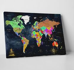 Framed Wall Art for Living Room Extra Large Wall World Map Home Office