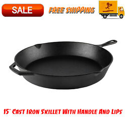 15 Cast Iron Skillet With Handle And Lips Kitchen Home And Outdoors Cookware