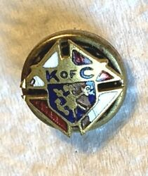 Antique K Of C Knights Of Columbus Gold-tone And Enamel Lapel Pin 3/8