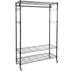 Heavy Duty Closet Wardrobe Shelves Clothes Storage Metal Rack Indoor Furniture