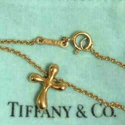Auth And Co. Elsa Peretti K18 Gold Cross Necklace Pendant W/box Dhl