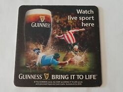 Beer Coaster Guinness Stout Watch Live Sport Here Soccer = Football Game Uk