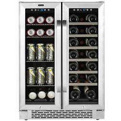 Whynter 24 Built-in French Door Dual Zone 20 Bottle Wine 60 Can Beverage Cooler