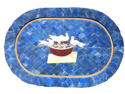 12''x15'' Marble Plate Birds Tray Lapis Inlaid Art And Free Exclusive Marble Lamp