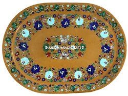 12''x18'' Marble Tray Marquetry Multi Floral Inlaid Dinner Table Interior Gifts