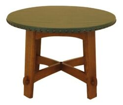44959ec Stickley Round Mission Oak Leather Top Dining Room Table