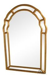 39224friedman Brothers Beveled Glass Arched Top Gold Framed Mirror New