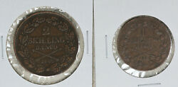 Two Nice Sweden Copper Coins - 1840 2 Skilling 1842 1 Skilling